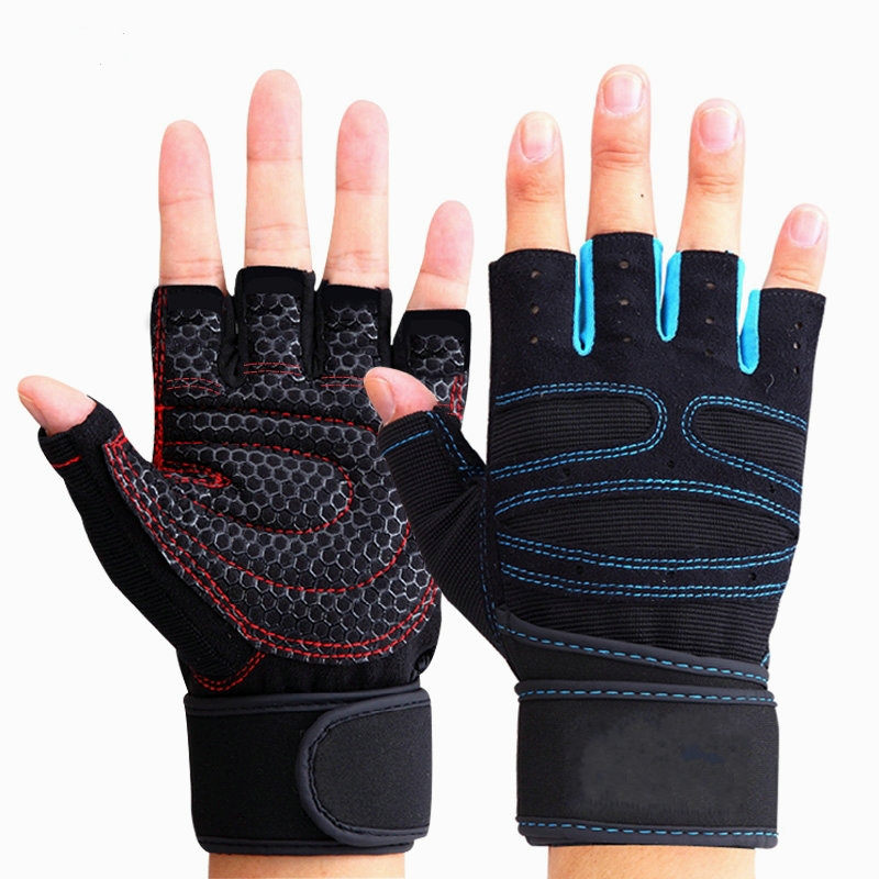 1 Pair Riding Gloves Sports Fitness Gloves Wrist Weightlifting Hand Half Finger Gloves Gym Training Bodybuilding Sports Gloves