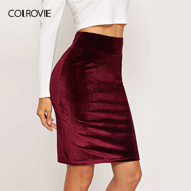 top-rated professional catch convenience goods COLROVIE Burgundy High Waist Bodycon Elegant Velvet Skirt 2019 Spring  Fashion Pencil Office Lady Skirts For Women Midi Skirt