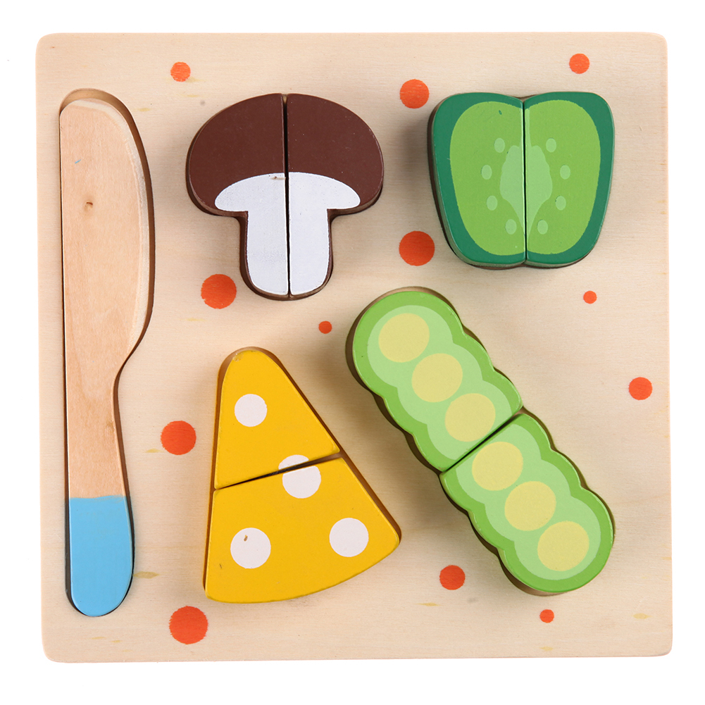 Wooden Food Pretend Play Toy Long Bean Vegetables Cut Play Toy Kids Early Educational Cognitive Cooking Kitchen Simulation Toy