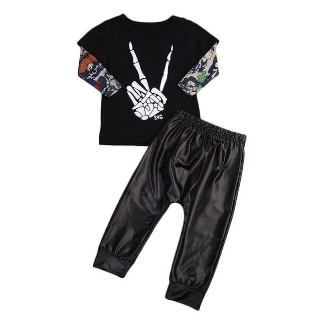 d5e3e1dbc Toddler 0 2T Baby Kids Boys Clothes set baby punk style rock set ...