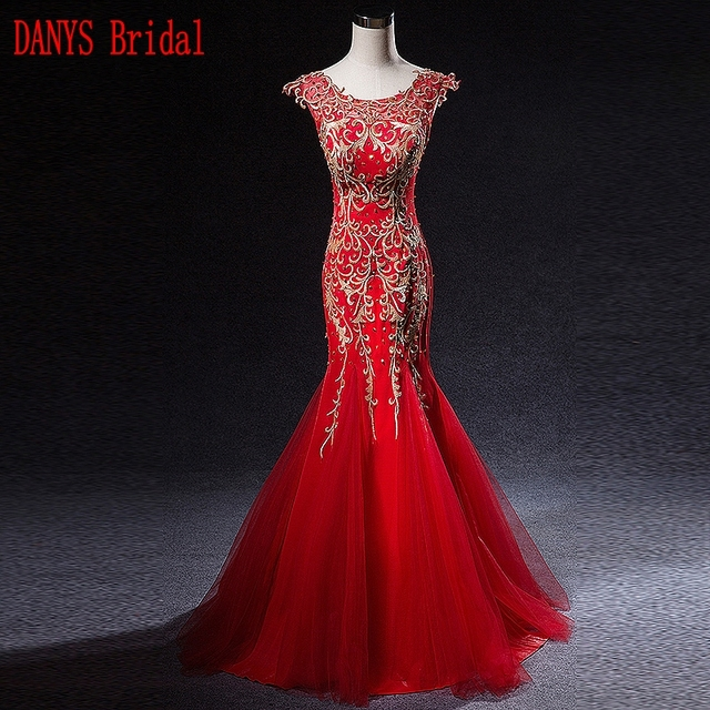 Beautiful Red Mermaid Evening Dresses Long Party Tulle Ladies Women ...