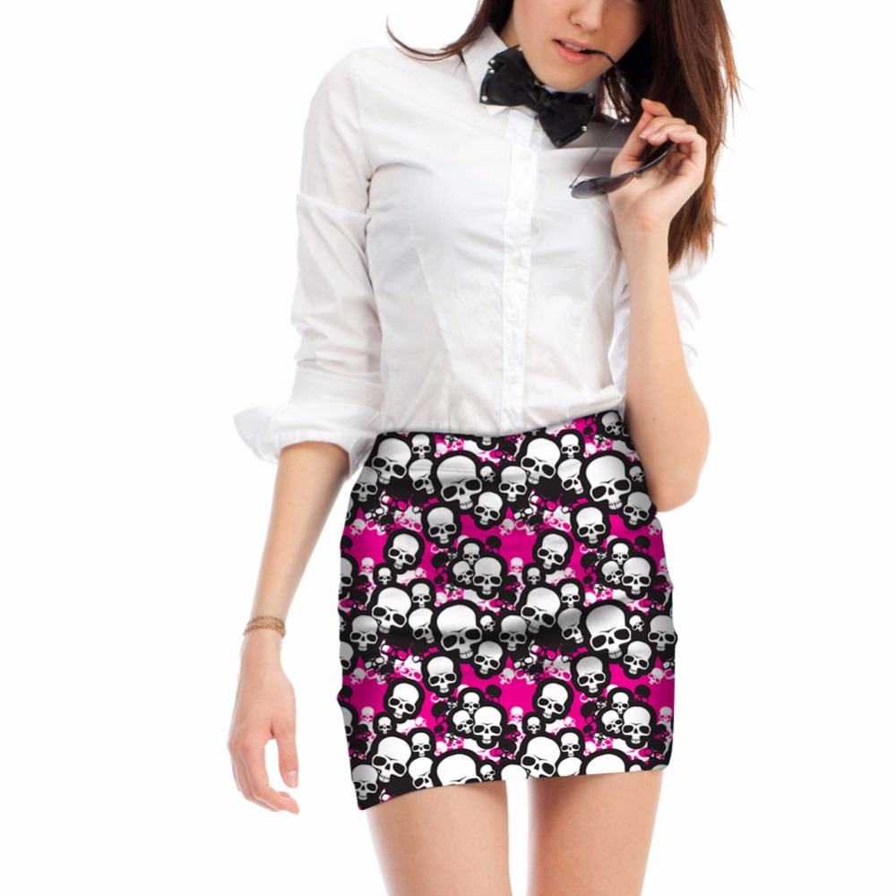 Noisydesigns Sexy Women 3D Crazy Skull Print For Female Party Pencil Skirts Office Lady Stretch Summer Breathable Mini Skirts
