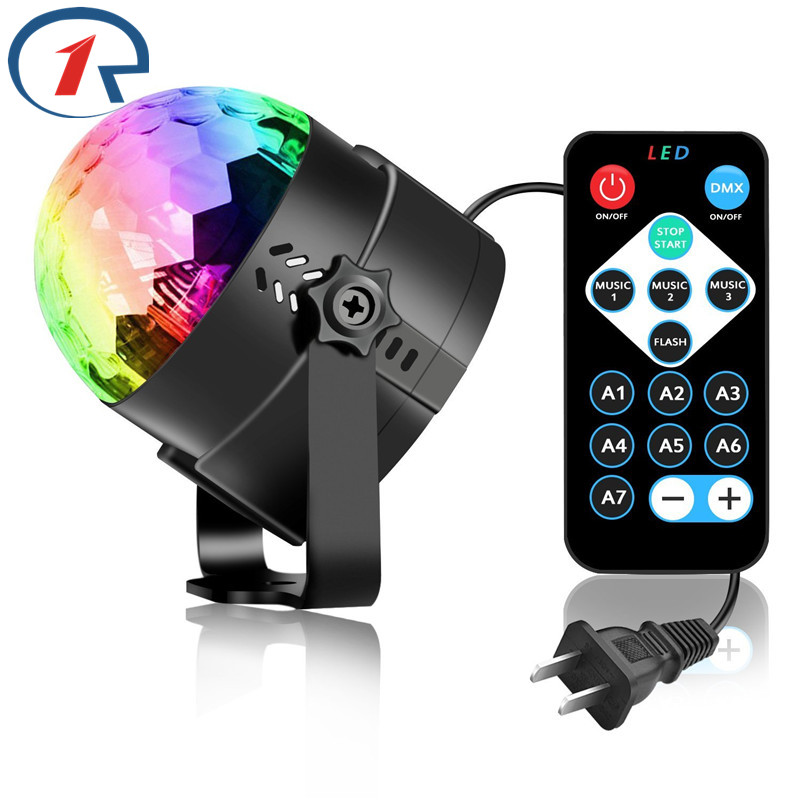 ZjRight IR Remote LED Crystal Rotating Ball Stage Light Barn dansar födelsedagseffekt ljus dj Holiday Xmas Halloween party light
