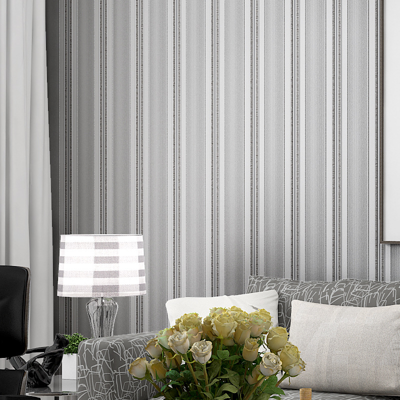 Beibehang Bedroom small fresh vertical striped wallpaper simple modern lines living room hotel works home improvement wallpaper