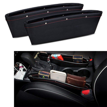 2Pcs Universal Car Seat Storage Pockets Box PU Leather Organizer Auto Gap Filler Side Pocket Stowing Tidying For Phone Card Coin