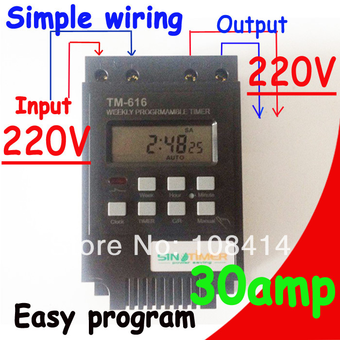 SINOTIMER 30A Load 7 Days Programmable Digital TIMER SWITCH Relay Control 220V Din Rail Mount, FREE SHIPPING 12v led display digital programmable timer timing relay switch module stable performance self lock board