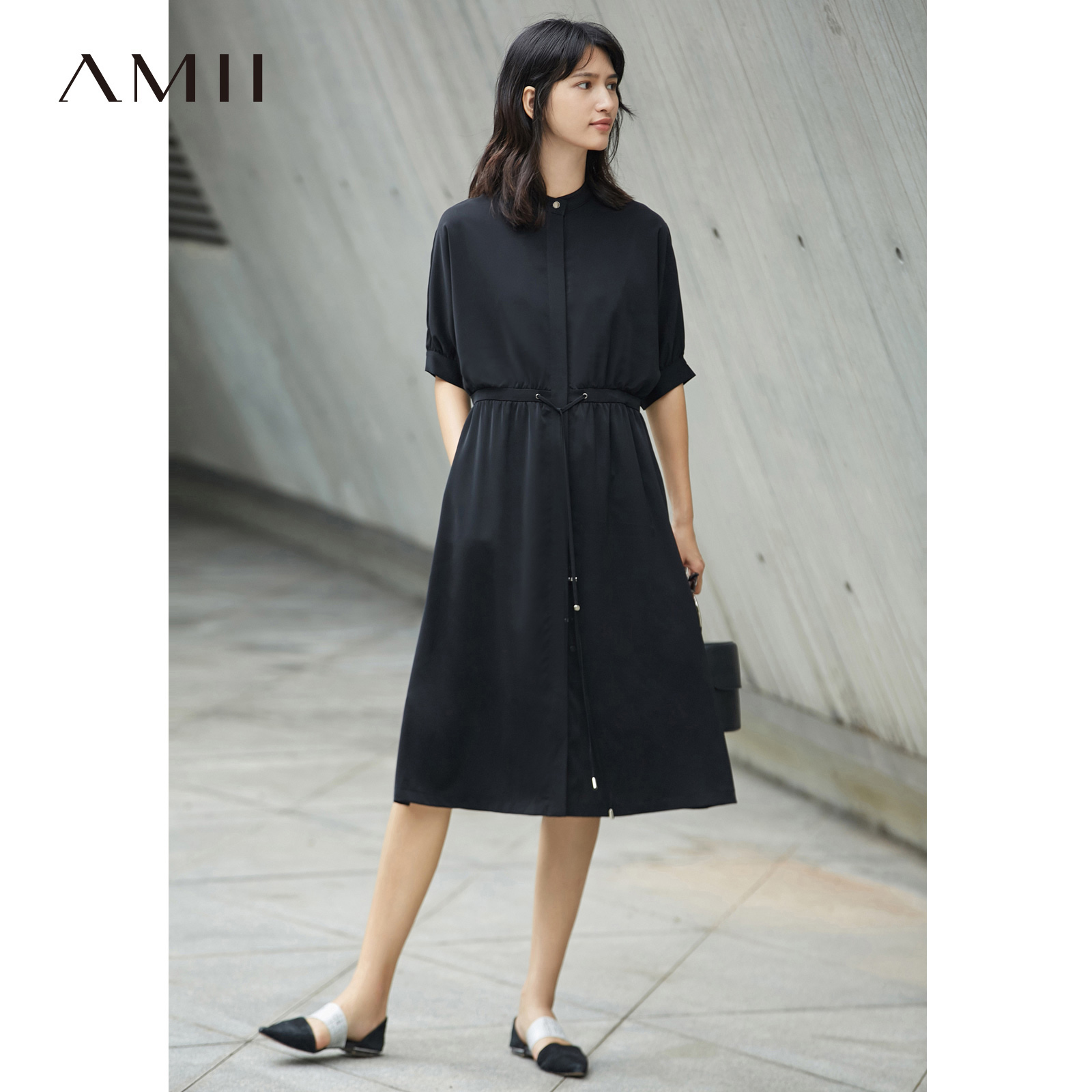 Amii Casual Women Dress 2018 Summer Loose Batwing Sleeve Waist Straps Chiffon Mid Calf Dresses