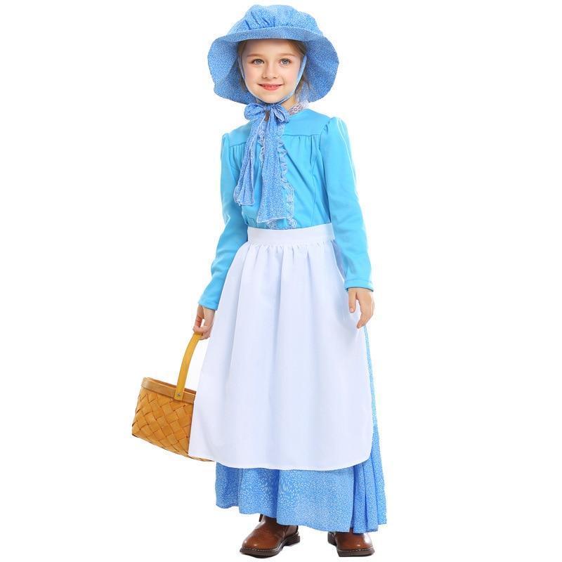 Enfants conte de fées période coloniale pionnière filles idyllique scène Costumes Cosplay pour filles Halloween jeu plage enfants jour