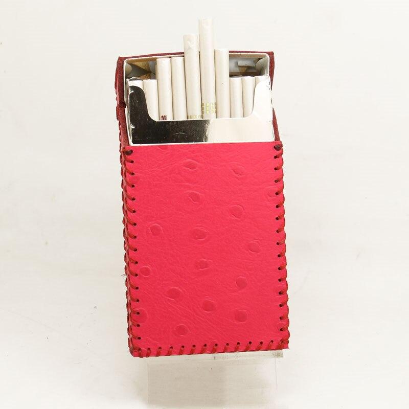 Mode Ultra mince tuyau autruche motif personnalité étui à cigarettes mince peau de vache à clapet exquis boîte-cadeau étui à cigarettes boîte