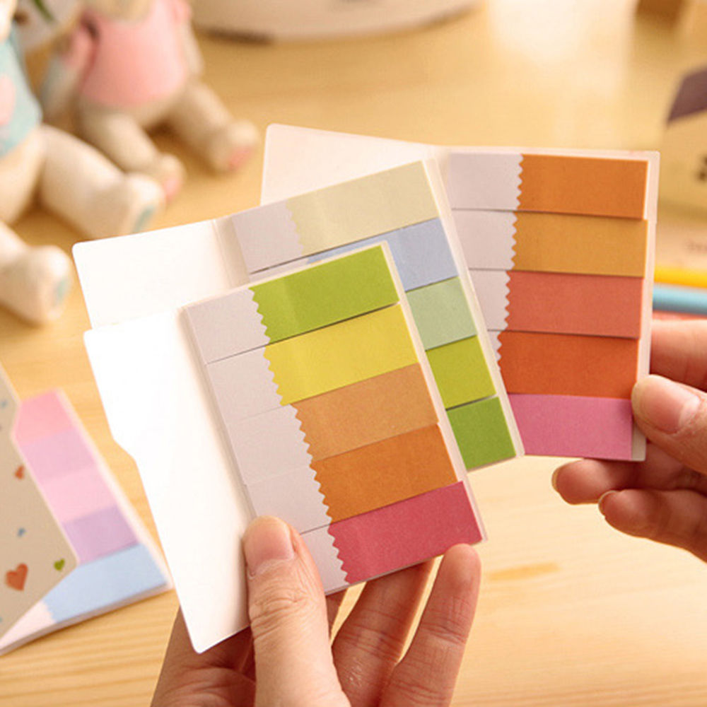 <font><b>Cute</b></font> Rainbow Colored Self-Adhesive Memo Pad <font><b>Sticky</b></font> Note Page Marker <font><b>Tab</b></font> Flag CN image