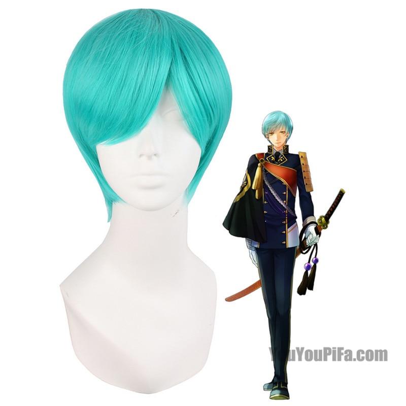 Tou Ken Ran Bu Ichigo Hitofuri 30cm Water Blue Wigs Anime Game Costume Cosplay Wig Halloween Costumes Hair Short Men Wig
