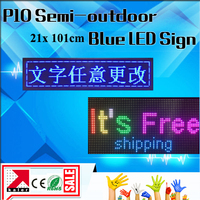 P10 semi outdoor blue color led screen module led signboard 24*104cm led moving display running text programmable led signs