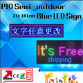 P10 semi-outdoor blue color led screen module led signboard 24*104cm led moving display running text programmable led signs
