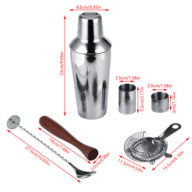 Stainless Steel Cocktail Shaker with Wooden Holder