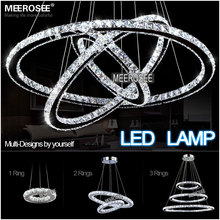 Modern LED Diamond Ring Chandeliers Chrome Mirror Finish Stainless Steel Room Hanging Lamp LED Chandelier Lustres