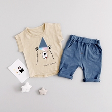 Summer Baby Cartoon Bear Hat Short Sleeve T-shirt Tops + Casual Shorts Boys Clothing Sets Kids Tracksuits Two Pieces Suits