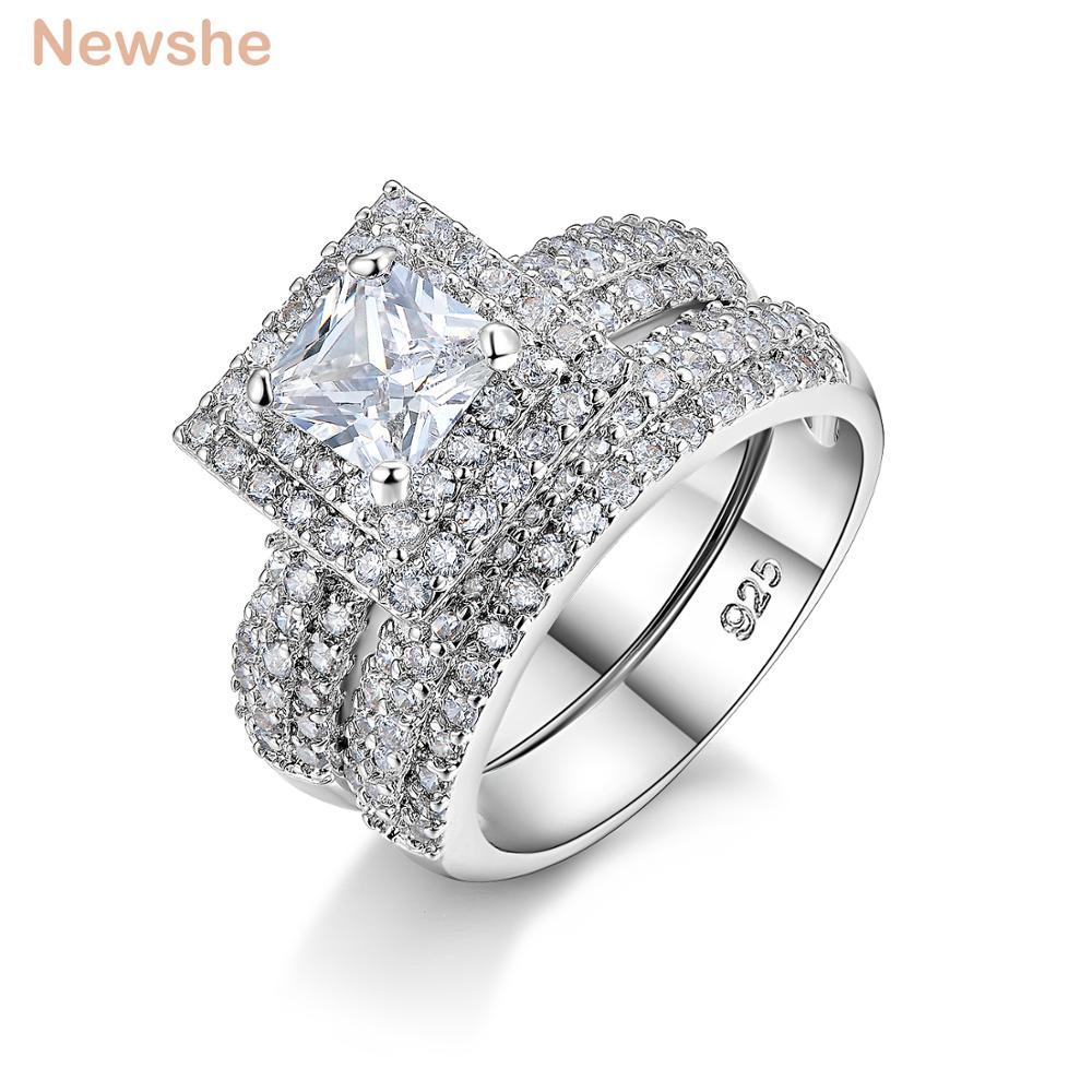 Newshe 2 Ct Princess Cut CZ Solid 925 Sterling Silver Wedding Ring Set Engagement Band Stunning