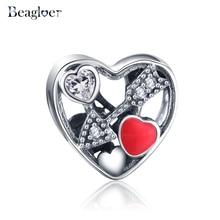 Beagloer 100% 925 Sterling Silver Heart Beads Charms Fit Pandora Bracelet Necklace