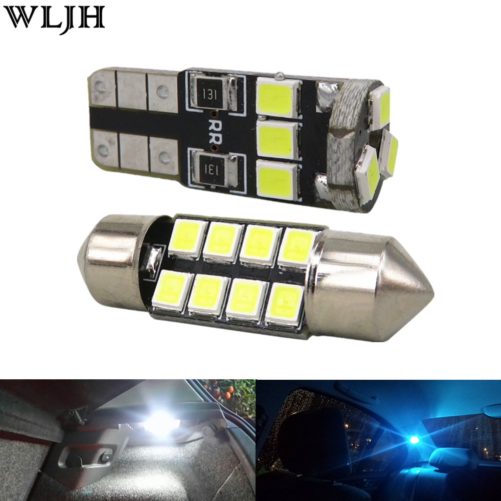 WLJH 6x Festoon 31mm Led T10 W5W Bulb 2835 SMD Dome Map Step Courtesy Trunk Interior Light Package for Subaru Outback 2010 -2014