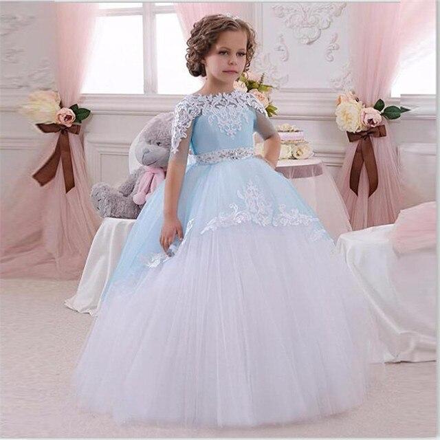 Luz Azul Vestidos de Meninas de Flor vestido de Baile Vestidos Pageant Para Meninas Glitz Lace Apliques Bow Sash Evening Vestido de Primeira Comunhão
