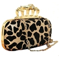 Famous Brand Evening Bag Vintage Leopard Skull Knuckle Rings Handbag Clutch Purse Chain Shoulder Bag Dinner Bag Bolsas Mujer