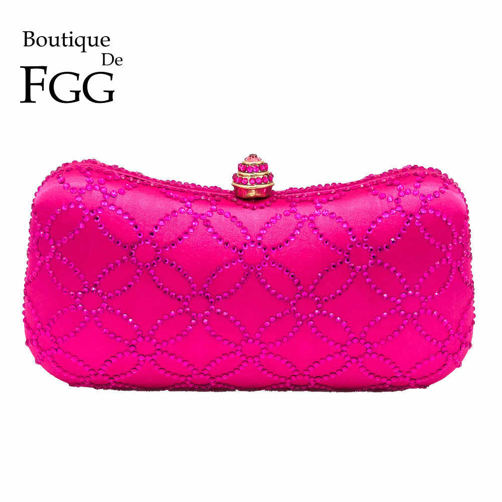 7a3fec3cb Boutique De FGG Chinese Ancient Copper Cash Pattern Hot Pink Women Crystal Evening  Clutch Bags Wedding