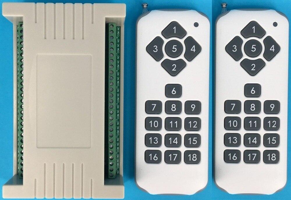DC12V 18CH Relais Remote Switch 18 Relais Ontvanger 18 Knop Afstandsbediening 2 * Zender Contact RX TX VRAGEN Licht Lamp smart Home Draadloze-in Afstandsbedieningen van Consumentenelektronica op  Groep 1