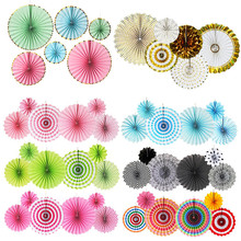 6 Sets Paper Flower Fan Handmade Folding Three-dimensional Party Decoration Wedding Colorful