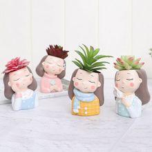 Home Garden Office Desktop Decoration, Cute Girls Shaped Succulent Cactus Flower Pot/Plant Pots/Planter/Container