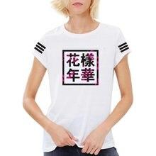 XUANSHOW verano Harajuku Camiseta Mujer BTS Bangtan niños Tops cuello  redondo Camiseta Mujer carta impresa algodón bbd229d0945f0