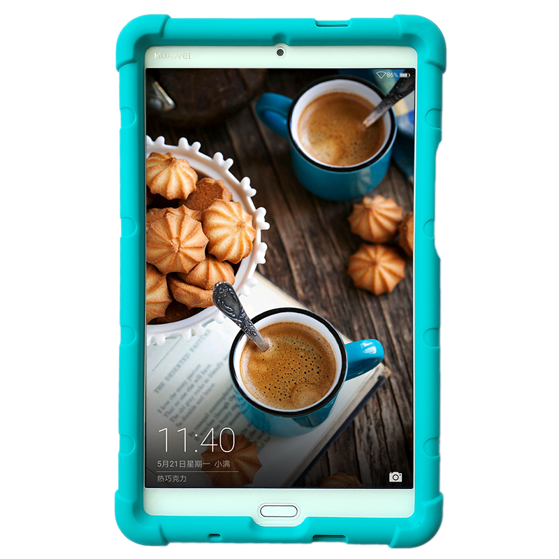MingShore Rugged Silicone Cover Case For Huawei MediaPad M3 8.4 inch BTV-DL09A/B/G BTV-W09 Tablet With Born Handstrap image