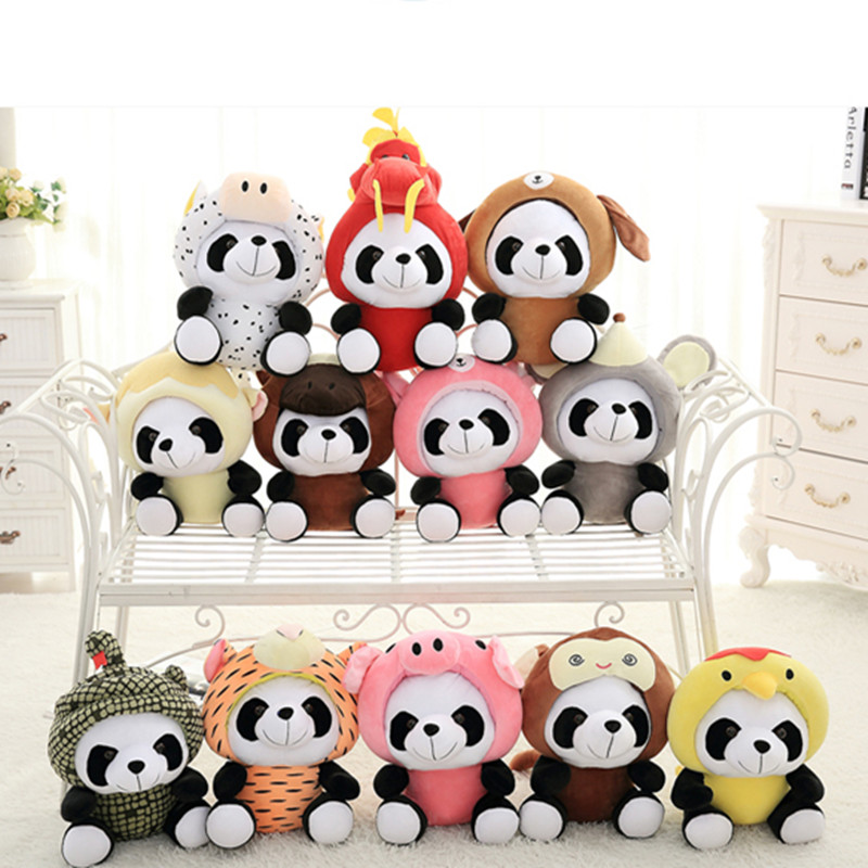 Hot Sale 20CM Panda Plush Toy  12 Zodiac Sign Panda Plush Toys 12pcs/set Pada Soft Stuffed Toy Birthday Gift hot sale cute dolls 60cm oblong animals pillow panda stuffed nanoparticle elephant plush toys rabbit cushion birthday gift