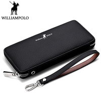 WILLIAMPOLO Luxury Business Long Wallet Genuine Leather Men Wallet Hand Strap Clutch Bag Fashion Pattern Phone Wallet Money Clip