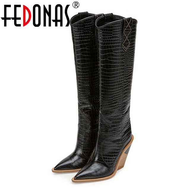 FEDONAS Sexy Embossed Microfiber Leather Women Boots Western Cowboy High Boots Chunky High Heels Knee High Boots Shoes Woman