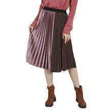 7 цветов Осень Зима Дамы Высокая талия тощий женский пэчворк бархат Длинная женская юбка в складки юбки элегантная женская юбка
