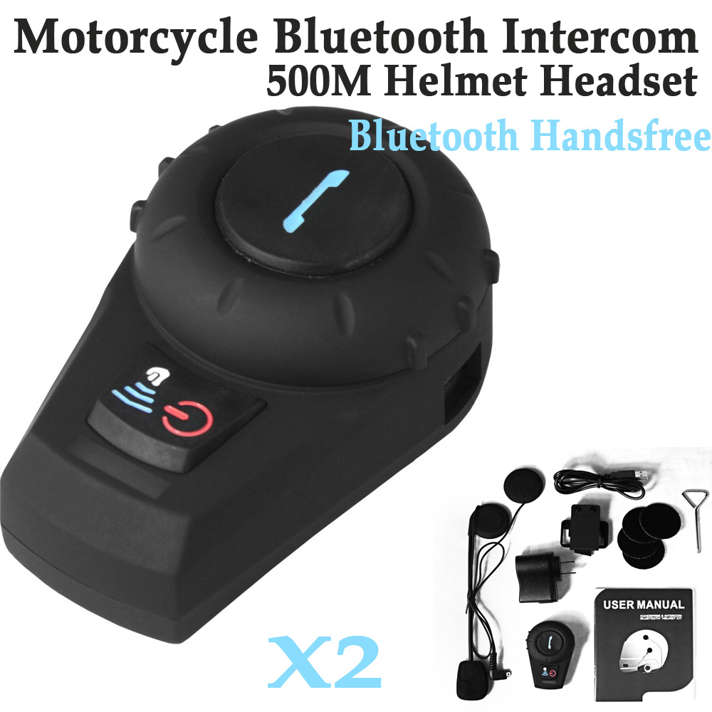 2x 500m Bluetooth 3.0 Multi Motorcycle Intercom Helmet Headsets Interphone Hands free intercomunicador bluetooth moto - Icablelink Electronics Limited store