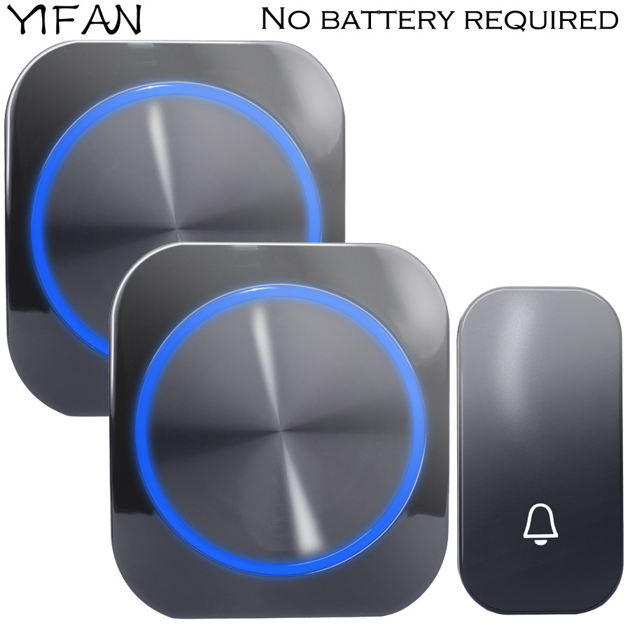 YIFAN Self-powered Wireless Doorbell no battery Waterproof 150M Remote EU Plug home Door Bell Chime ring 1 2 button 1 2 receiver