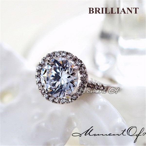 BRA077 Best Lovers Gift! Romantic 1 big CZ Diamond 18K White Gold Plated Rings Jewelry Full size Italina Brand - Brilliant store