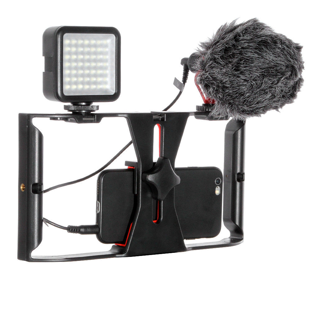 Profession Smartphone Video Rig Camera Cage Mount Holder Stabilizer Handle Grip + BOYA BY MM1 Microphone Mic + 49 LED Light Kit