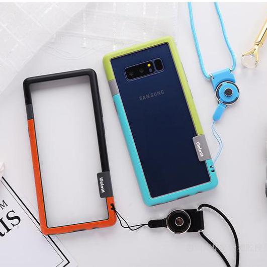 Sam Note 8 Bumper ,Zenus Walnutt Color Shock Silicone+ PC Frame Bumper For Samsung Galaxy Note8 with string