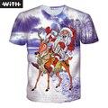 2016 Nuevas Mujeres de Los Hombres 3d camisetas Personalidad funny Santa Claus de Navidad Imprimir Tops Sobrenatural Animado camiseta CON YZ744