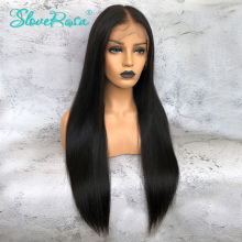 Lace Front Human Hair Wigs For Women 250% Remy Peruvian Straight Lace Wigs With Baby Hair Pre Plucked Bleached Knots Slove Rosa(China)