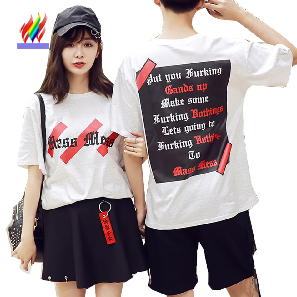Couple clothes for lovers men women cute sweet tops letter for Couple printed t shirts india