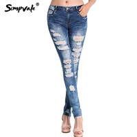 SIMPVALE Large Size Ripped Holes Jeans Women Vogue Mid Waist Denim Pencil Pants Female Washed Bleached