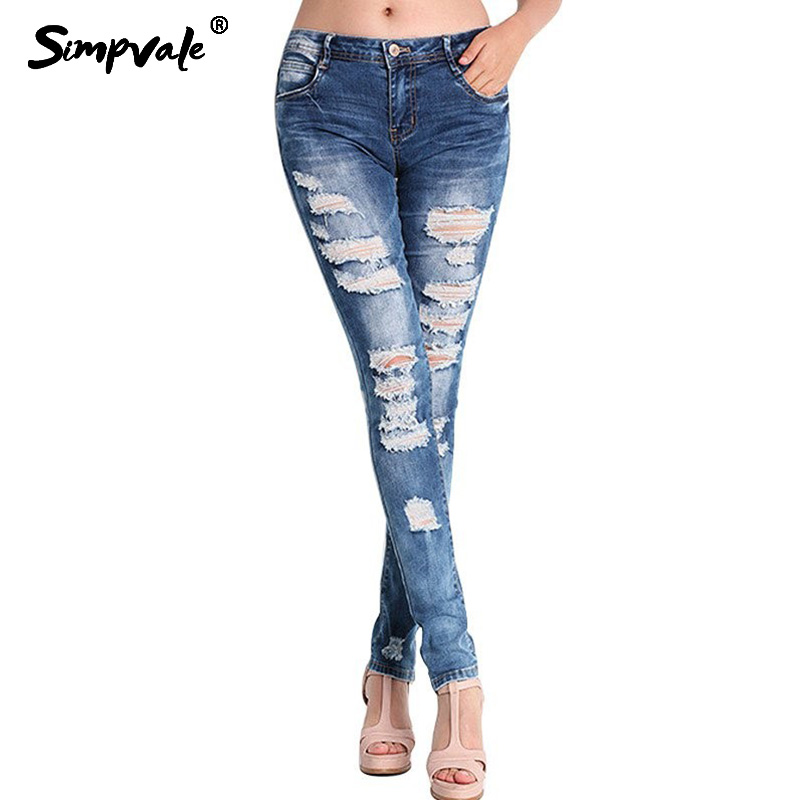 SIMPVALE Large Size Ripped Holes Jeans Women Vogue Mid Waist Denim Pencil Pants Female Washed Bleached Elastic Slim Jeans S~3XL womem s skinny elastic buttons washed ripped jeans embroidered mid waist full length denim jeans pencil pants