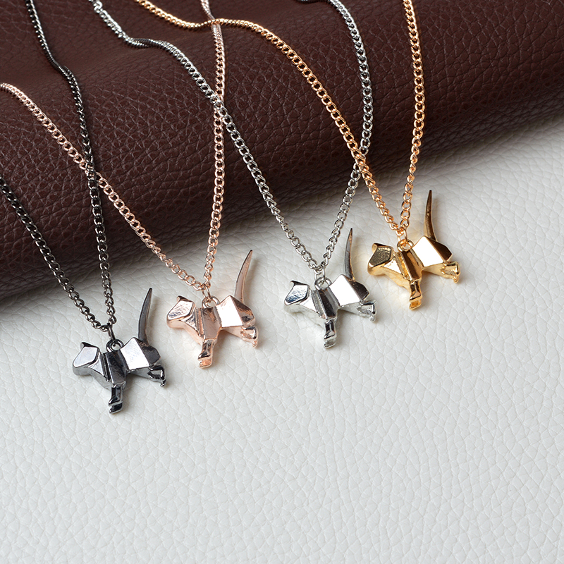 Origami Cat Kitty Pendant Necklace Suspend Creative Minimalist