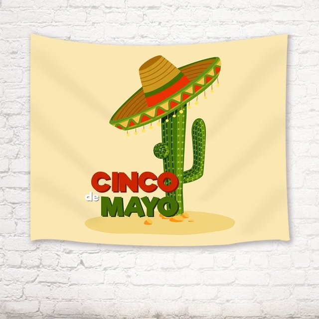 Cactus Decor Tapestry Cartoon Mexico Cactus With Strawhat Doodle ...