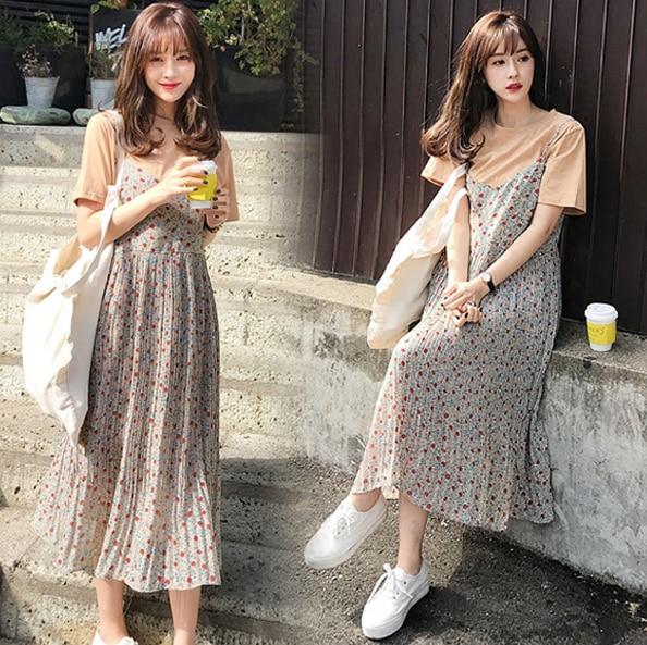 Maternity 2018 Summer New Fleet short-sleeved chiffon shirt Halter Skirt Two sets of pregnant women Dress