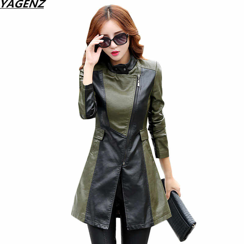 2017 New Spring Autumn Leather Clothing Women PU Leather Jackets Coats Fashion Slim Plus Size M-5XL Women Outerwear YAGENZ K662