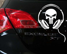 1PCS 19cm*18cm Headset skull car stickers super cool black and white car styling car decoration+FREE SHIPPING